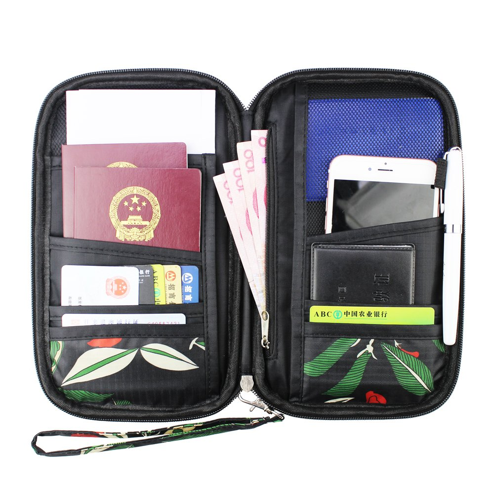 Travel Passport Wallet Vintage Document Organizer Zipper Case Phone Cash Card Holder