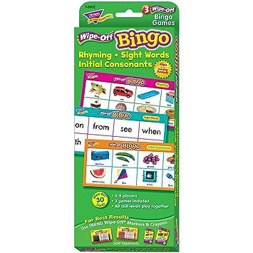 Rhyming/Sight Words/Consonants Wipe-Off Bingo Game