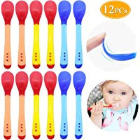 Baby Infant Spoons Soft Silicone Baby Utensils Baby Feeding Training Spoons, 3 Months+, 12 Pack