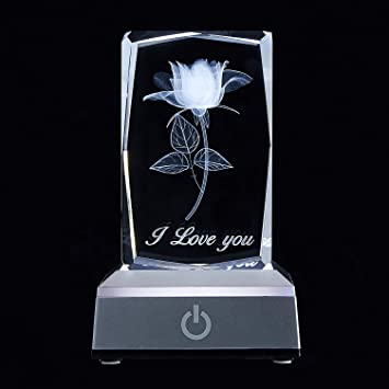 BIANROCO I Love You 3D Rose in Full Bloom Crystal with Colourful LED Display Base, Wonder Present Gifts for Girlfriend Wife and Women, Gifts for Anniversary and Birthday