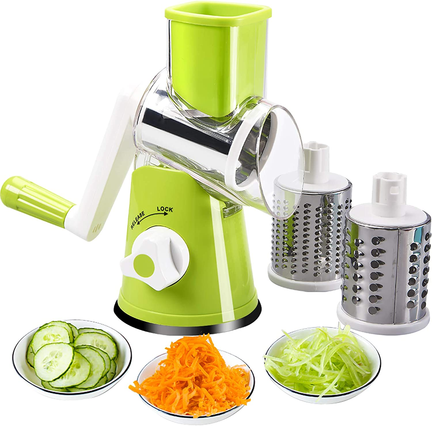 FAVIA Rotary Cheese Grater with Handle - Food Shredder with 3 Stainless Steel Drum Blades, Round Mandoline Slicer Nuts Grinder, BPA Free Dishwasher Safe (Green)