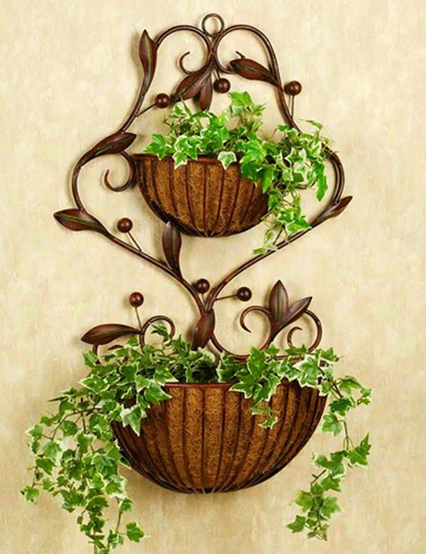 Moderne minimalistische Eisen Blume Rack Wand Hung Blumen-Topf Rahmen Blumenregal Balkon Boden Pflanzer Regal Einfache moderne Wohnzimmer Indoor Flower Rack (2 Styles verfügbar) ( farbe : B )