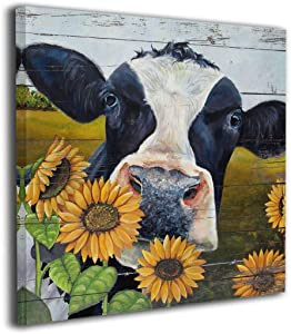"Rustic Wall Art For Bedroom Sunflower Cow Painting Canvas Prints Farm Pictures Farmhouse Artwork Bathroom Wall Décor For Office Living Room Home Decor,16""x16"