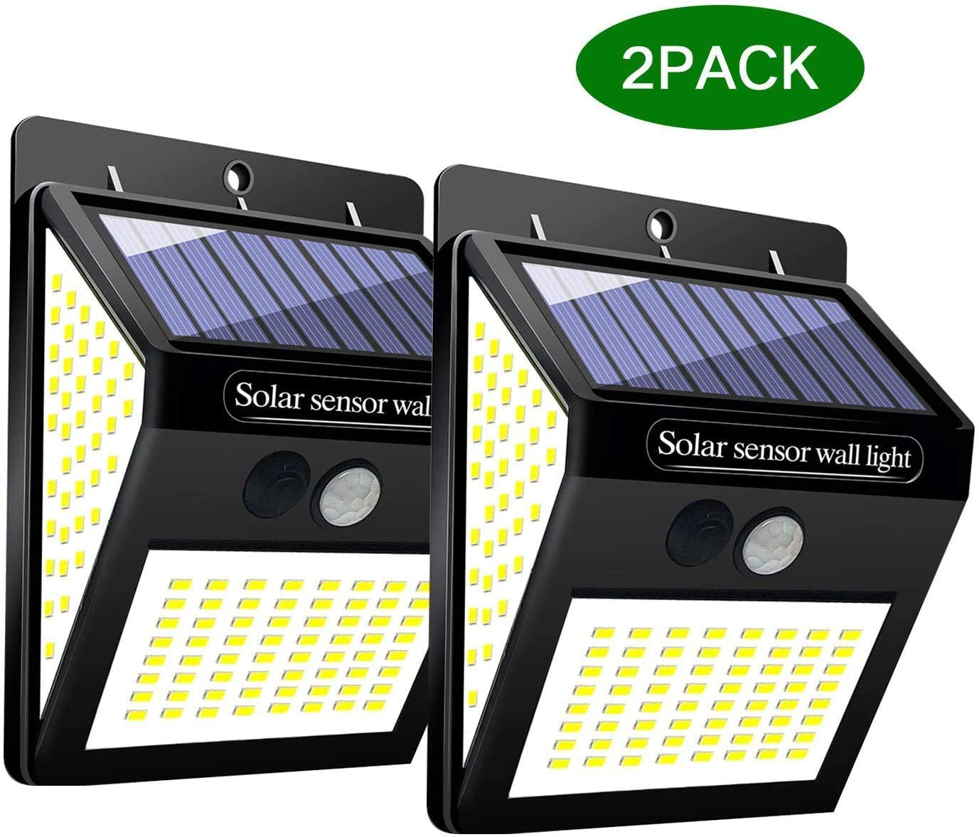 1Pack Gute Solar Lights Outdoor,144 LED Solar Wall Lights Outdoor,IP65 Waterproof Solar Motion Sensor Security Lights With120/°Wide Solar Powered Wireless Wall Lights for Garden Patio Yard