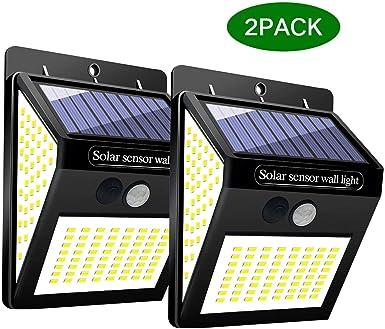 GUTE Luz Solar Exterior,144 LED Luz Solar Jardín,120 °Iluminación de Lados Foco Solar con Sensor de Movimiento Impermeable Lámpara Solar para Jardín (2-Paquete): Amazon.es: Iluminación