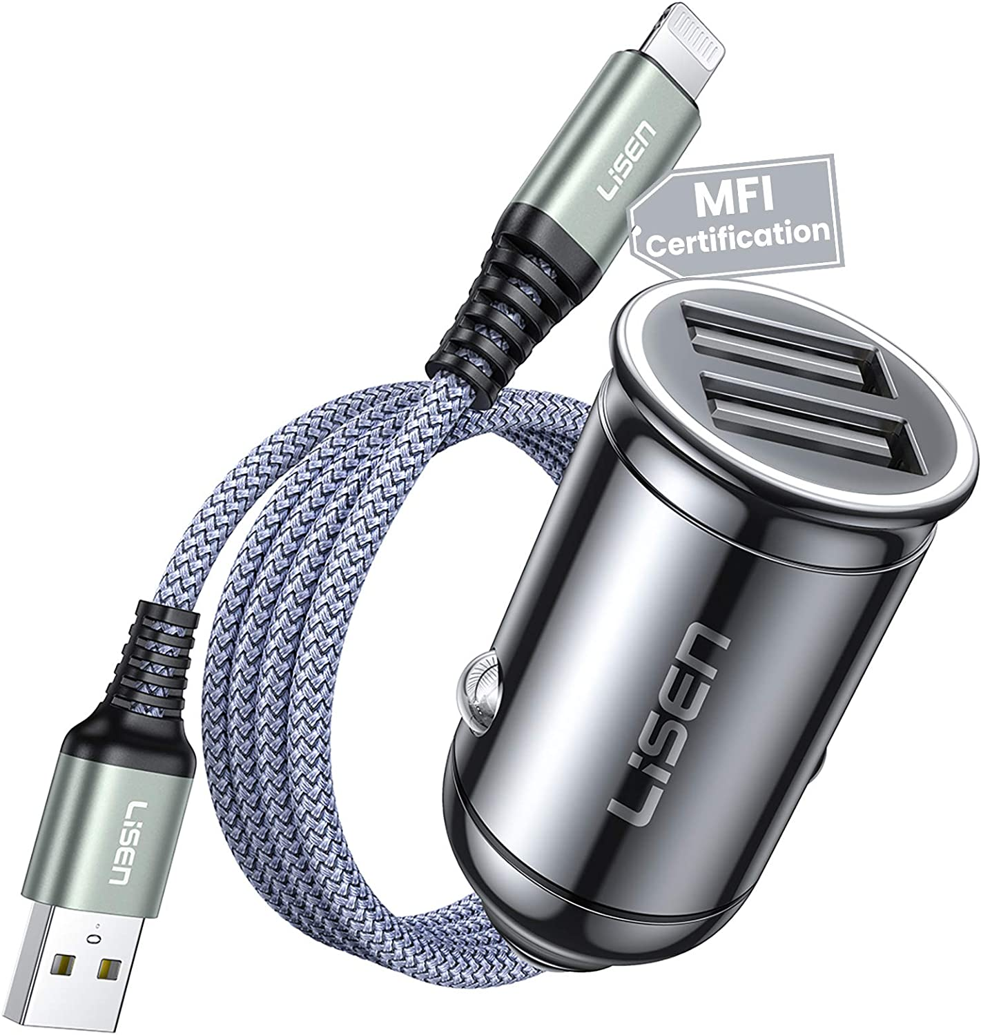 iPhone Car Charger Adapter, 4.8A Metal Lightning Car Charger[MFI Certified Cable], LISEN Dual Port Fast Cigarette Lighter USB Charger Flush Fit Compatible with iPhone 12/11/XS Max/X/8/Plus, iPad&More