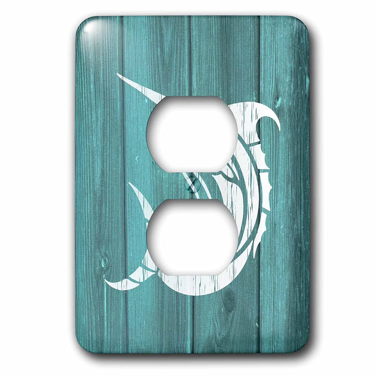 3dRose LSP/_220424/_6 Marlin Cracked White Paint Design on Blue Effect-not Real Wood 2 Plug Outlet Cover
