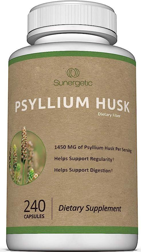 Premium Psyllium Husk Fiber Supplement 1450mg, 240 Capsules