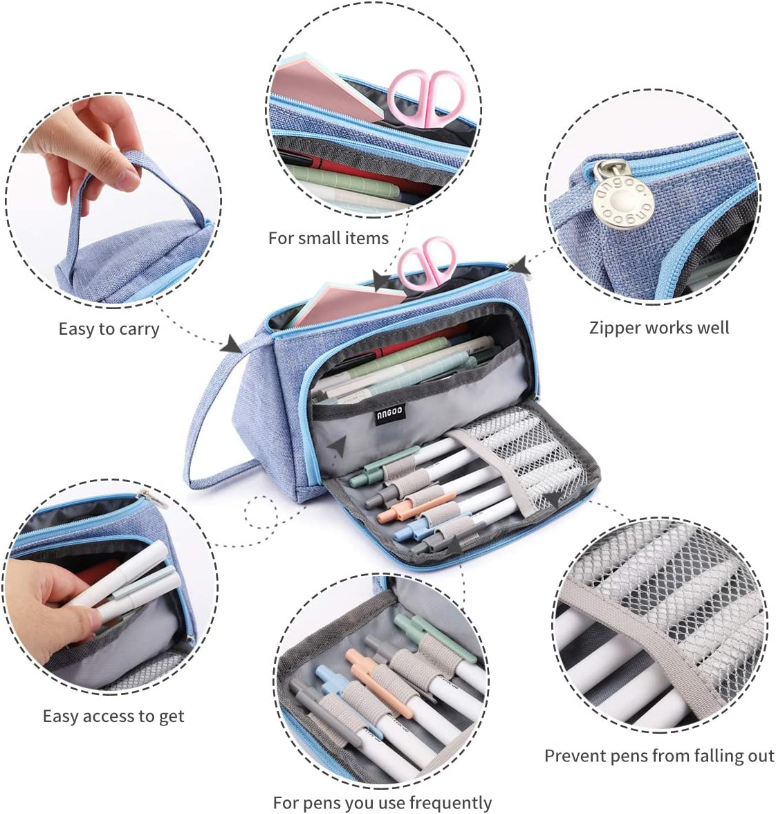 Drak Gray Yloves Big Capacity Pencil Pen Stationery Bag Pouch Box Organizer Holder with 2 PCS Index Tabs for School Office Pencil Case