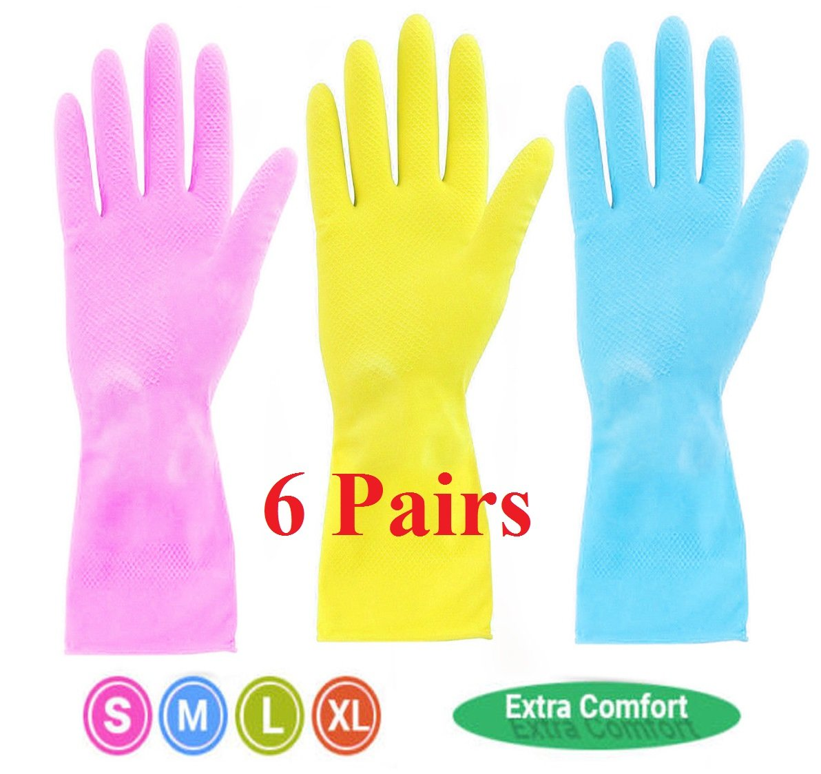 6 Pairs Pink Strong Household Rubber Gloves Long Sleeve Washing up Cleaning Gloves Kitchen (Pink, Small-7) Toyo