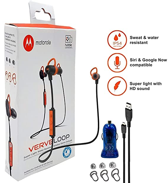 Motorola VerveLoop HD Wireless - Sweat   Water Resistant Stereo Earbuds   quot  Siri   Google quot b03434d60a