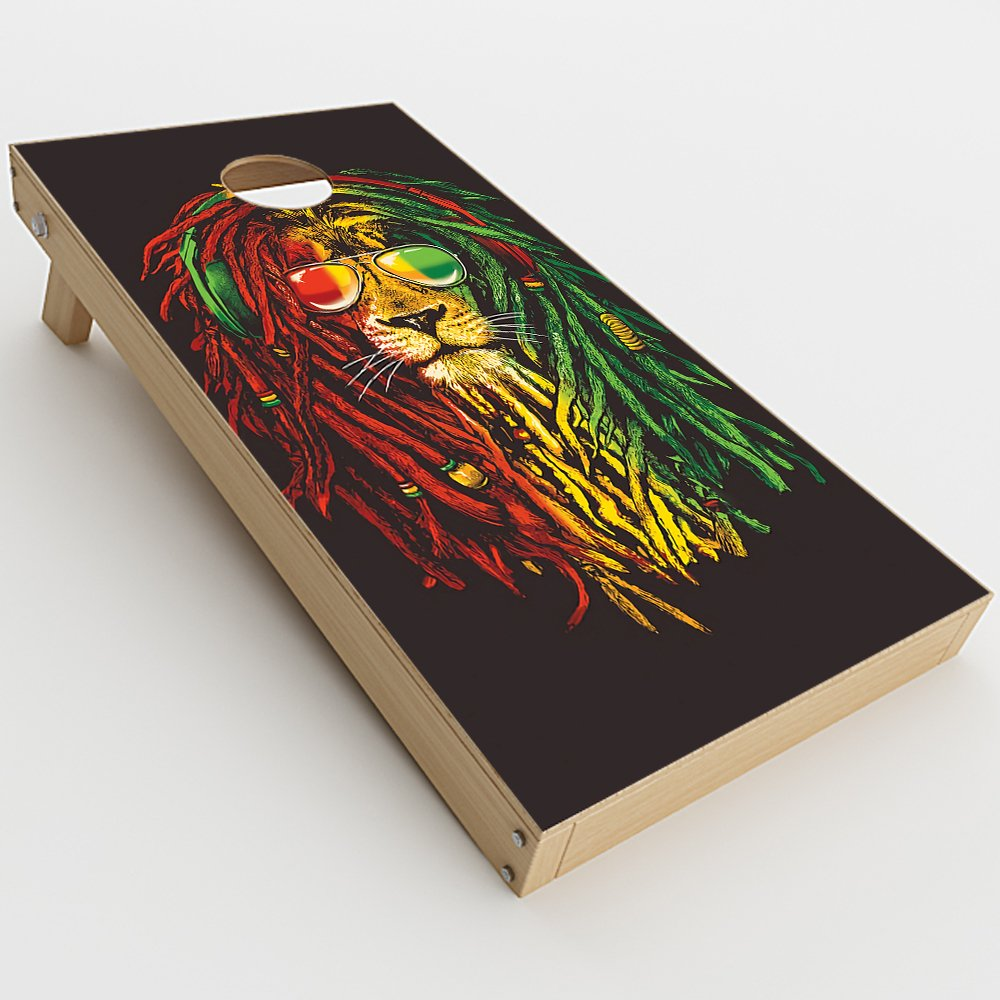 Skin Decal Vinyl Wrap for Cornhole Game Board Bag Toss (2xpcs.) Skins Stickers Cover / Rasta Dread Lion Irie