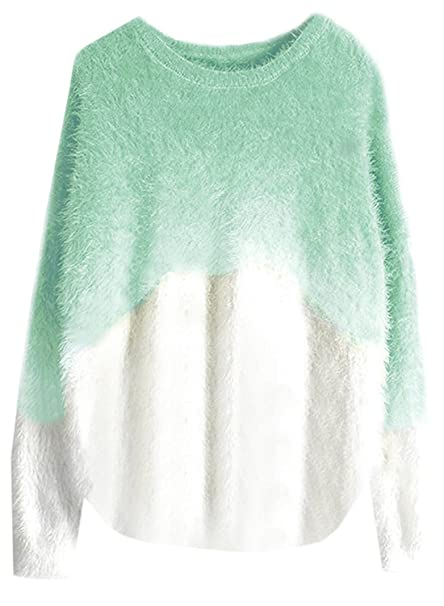 40b7596147d5 Futurino Women s Mohair Gradient Long Sleeves Pullover Round Neck Sweater  at Amazon Women s Clothing store