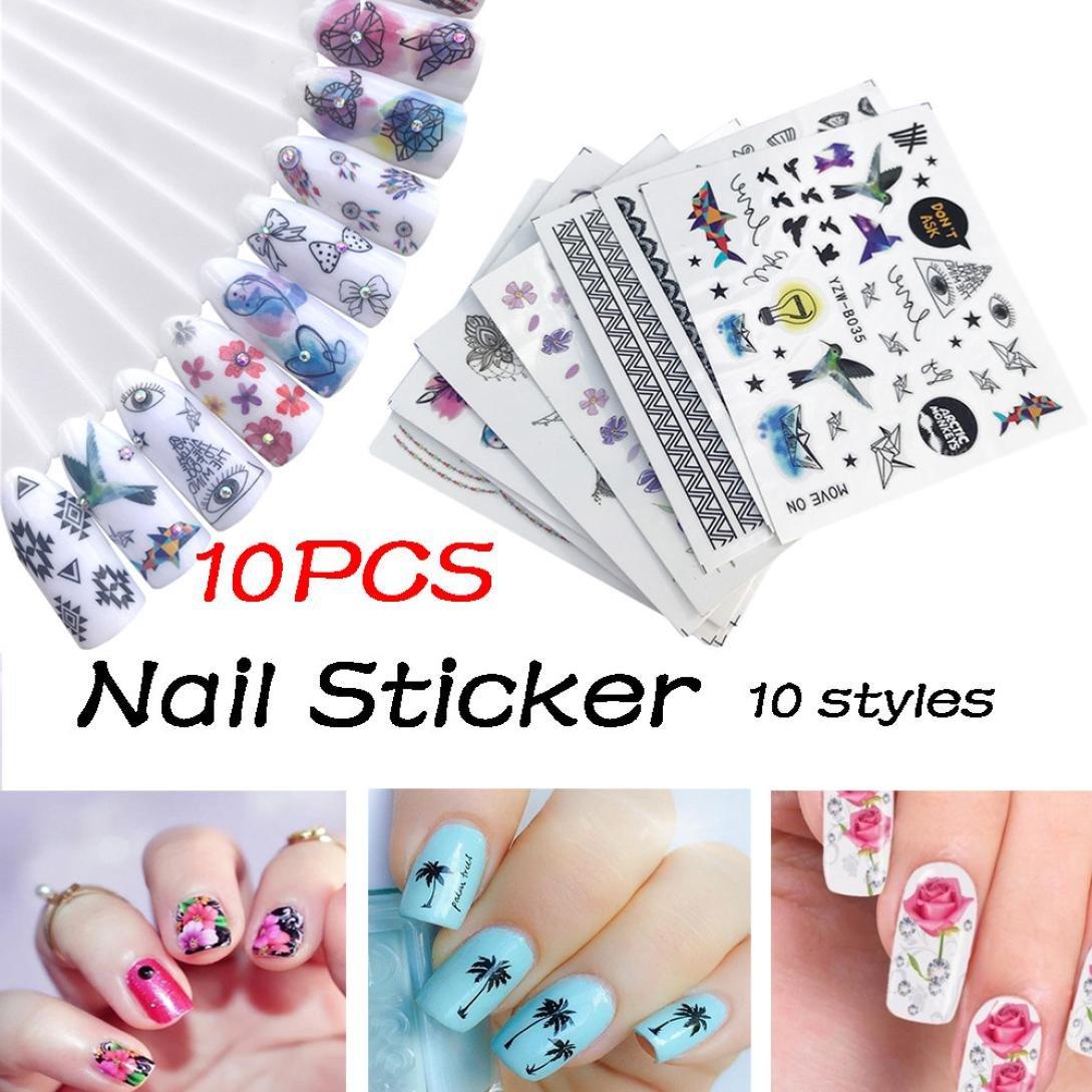 Gaddrt 10Pcs DIY Nail Sticker Applique Adhesive Flower Rattan Nail Lace Design Nail Paste