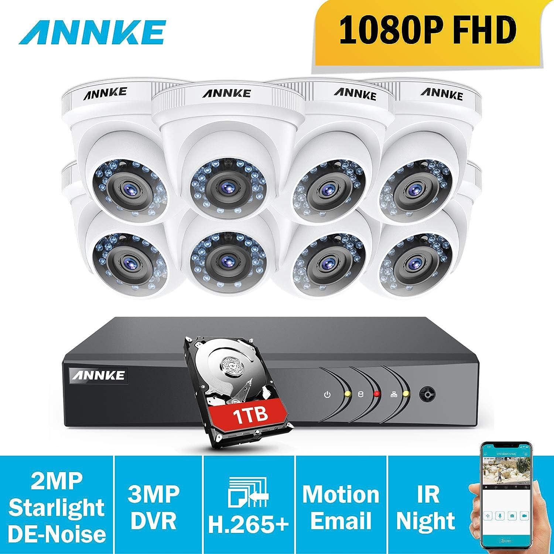 ANNKE Sistema de Seguridad 8+2 Canal 3MP H.264 DVR con CCTV (8)2.0MP Cámaras de vigilancia Starlight IP66 Impermeable con Visión nocturna No-Ruido ...