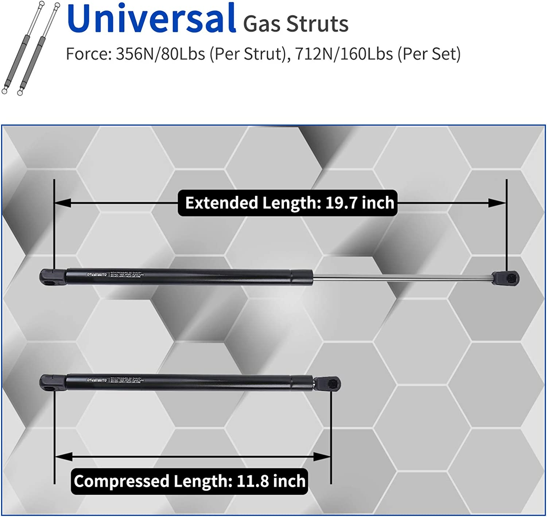 C1608053 Gas Shocks for Tool Box Shock Cabinet Gas Strut Truck Cap Strut OTUAYAUTO 20 inch Gas Strut Hydraulic Door Hinge 356N//80Lbs Universal Lift Support RV Door Strut