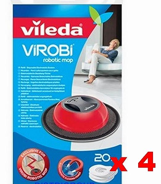 4 x 136132 de Vileda Virobi cepillo Robot Refill (=80 Recambio, 4 ...