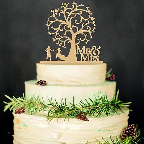 Baum Mr /& Mrs Kuchendeckel Hochzeitstorte Topper Holz Hochzeit Holzfarbe Deko m
