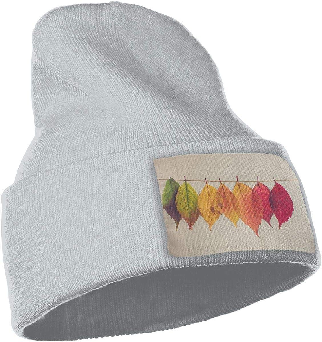 Yubb7E Leaves-Fall-Cords Warm Knit Winter Solid Beanie Hat Unisex Skull Cap
