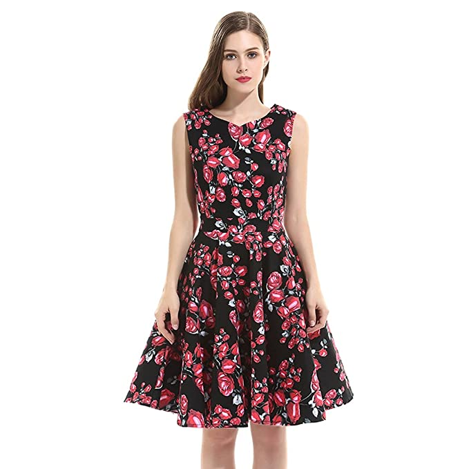 Polly Online - Vestido - Noche - Sin mangas - para mujer negro Floral Print Dress