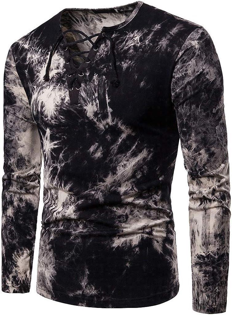 YEBIRAL Camisetas Hombre Manga Larga 2019 Nuevo Cuello en V con Cordones Estampado Tops Camisetas Hombre Originales Blusa Camiseta(S, Negro): Amazon.es: Ropa y accesorios