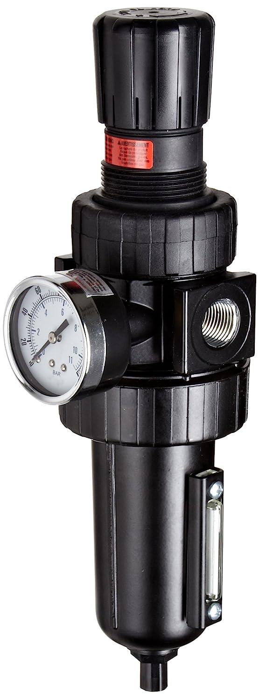Parker 07E42A13AC One-Unit Combo Compressed Air Filter/Regulator, 3/4 NPT, Polycarbonate Bowl with Metal Bowl Guard, Manual Drain, 40 Micron, 90 scfm, Relieving Type, 2-125 psi Pressure Range, No Gauge by Parker  B007FXR02Q