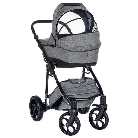 Leichtg/ängig Reifen mit Pannenfrei Garantie Grau LCP Kids 3-in-1 Kombi-Kinderwagen Set ab Geburt