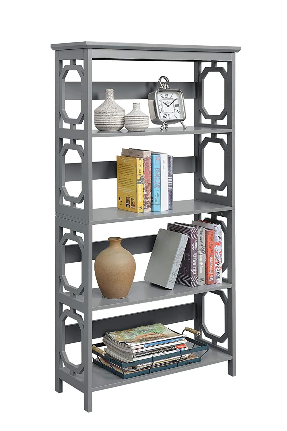 Convenience Concepts 203250GY Omega 5-Tier Bookcase, Gray