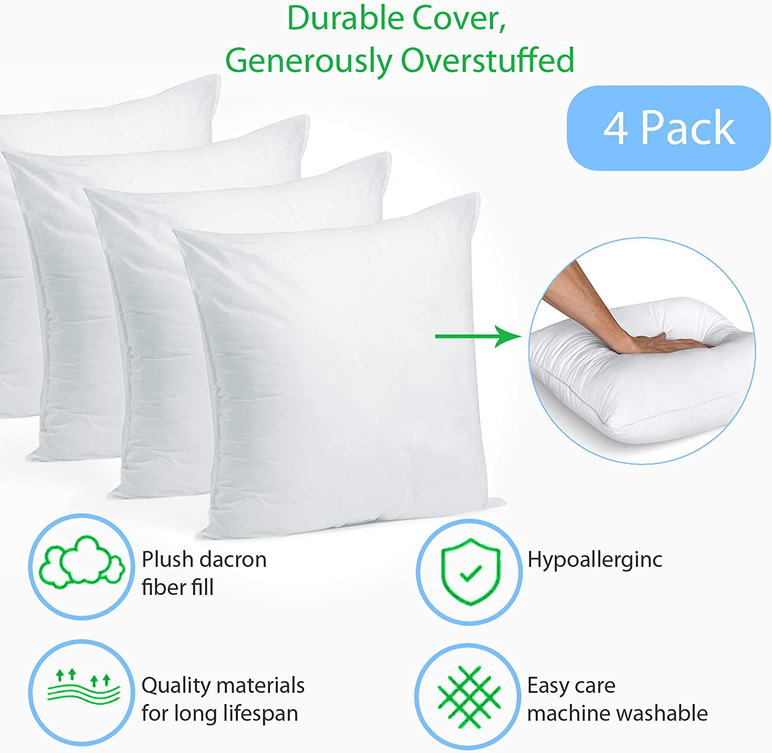 Pillow Insert 17 x 17 Polyester Filled Standard Cover 4 Pack