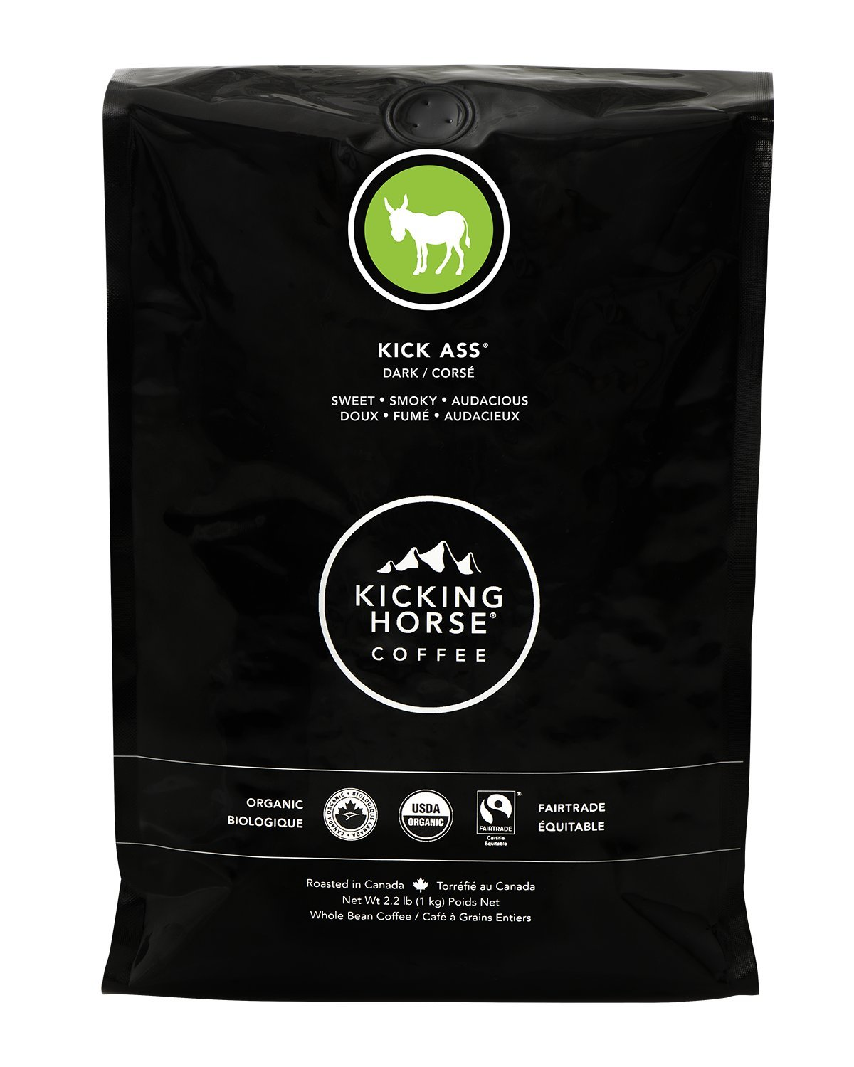 Kicking Horse Coffee, Kick Ass, Dark Roast, Whole Bean, 2.2 Pound - Certified Organic, Fairtrade, Kosher Coffee by Kicking Horse Coffee