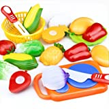 Tonsee 12 PCS Pretend Role Play Kitchen Fruit Vegetable Food Toy Cutting Set Kids