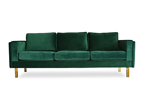 "ALBANY PARK Green Velvet Sofa - 87"" MidCentury Modern Sofa for Living Room"