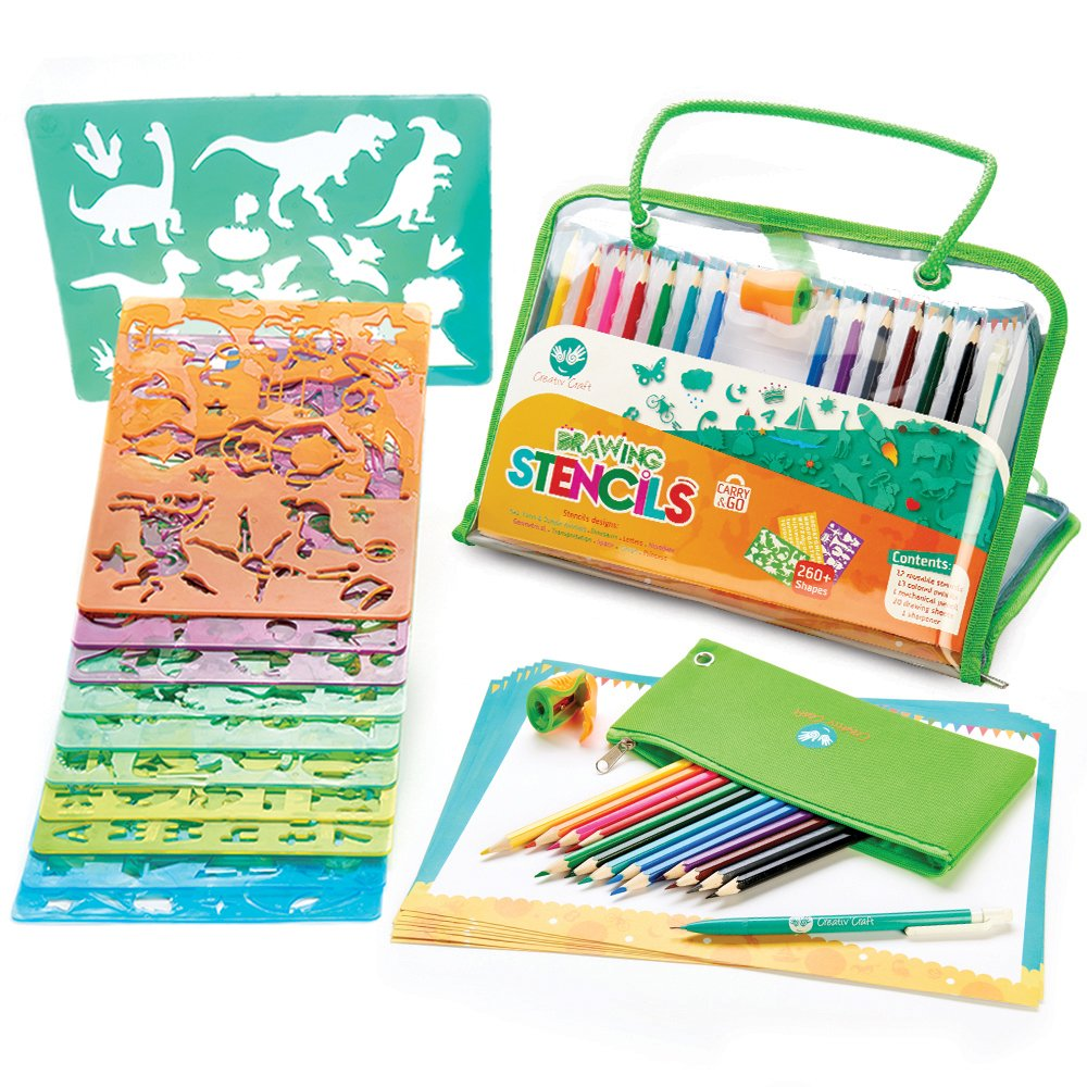 Drawing Stencils Set for Kids - More than 260 shapes - Endless Art & Craft Activities to Enhance Children's Creativity - Stencil Art Kit for Birthday Gift for Boys, Girls, and Toddlers