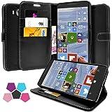 Microsoft Lumia 950 Hülle, Profer [Premium Leder Serie] Schutzhülle Premium PU Leder Flip Tasche Case Cover mit Integrierten Kartensteckplätzen und Ständer für Microsoft Lumia 950 (Leder-Schwarz)