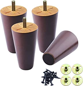 Wood Furniture Legs Set of 4, Round Solid Wooden Sofa Legs 4 inch, Mid Century Walnut Color Tapered Legs, Couch Legs Replacement for Coffee Table,Cabinet,Bed,Dresser Furniture feet