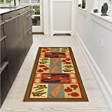 "Ottomanson Sara's kitchen runner rug, 20""X59"", Olive Green Vegetables"