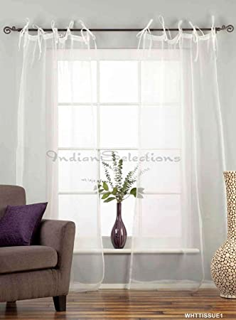 Amazoncom Indian Selections White Tie Top Sheer Tissue Curtain