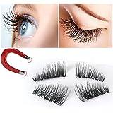 False Magnetic Eyelashes 3D Reusable Fake Eyelashes ,Best Fake eye Lashes Extensions No false eyelashes glue 0.2mm Ultra-thin 3D Fiber for Natural Look 1 Pairs 4 Pieces (4pcs) (2pair-8pcs)