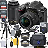 Nikon D3400 DSLR Camera (Black) w/ 18-55mm & 70-300mm Lens + 2 X 32GB Card + Deluxe Photo Bundle