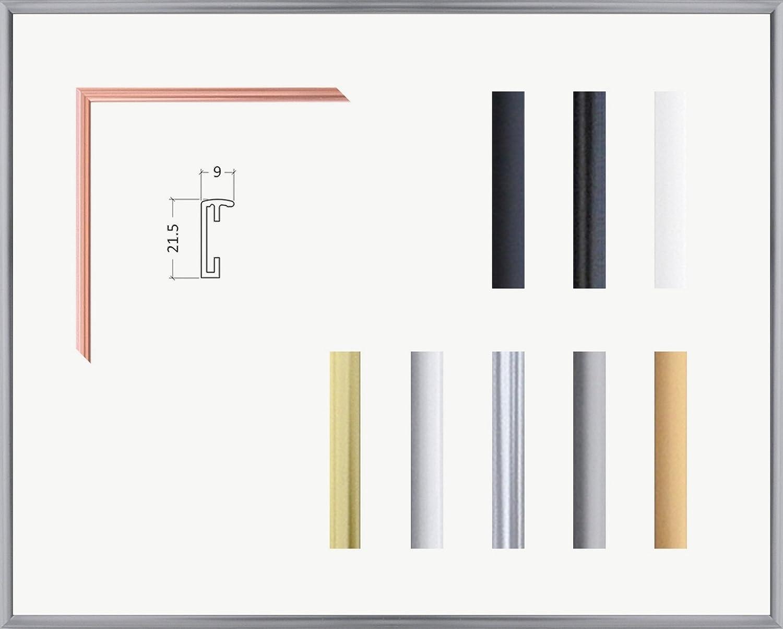 Kimberly Echt Aluminium Bilderrahmen 71 x 91 cm genaue Größe wählbar 91x71 cm Hier Platin mit Acrylglas Antireflex 1 mm