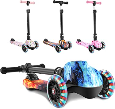 LED Kid Scooter Deluxe 3-Wheel Folding Adjustable Kick Scooter Christmas Gift US