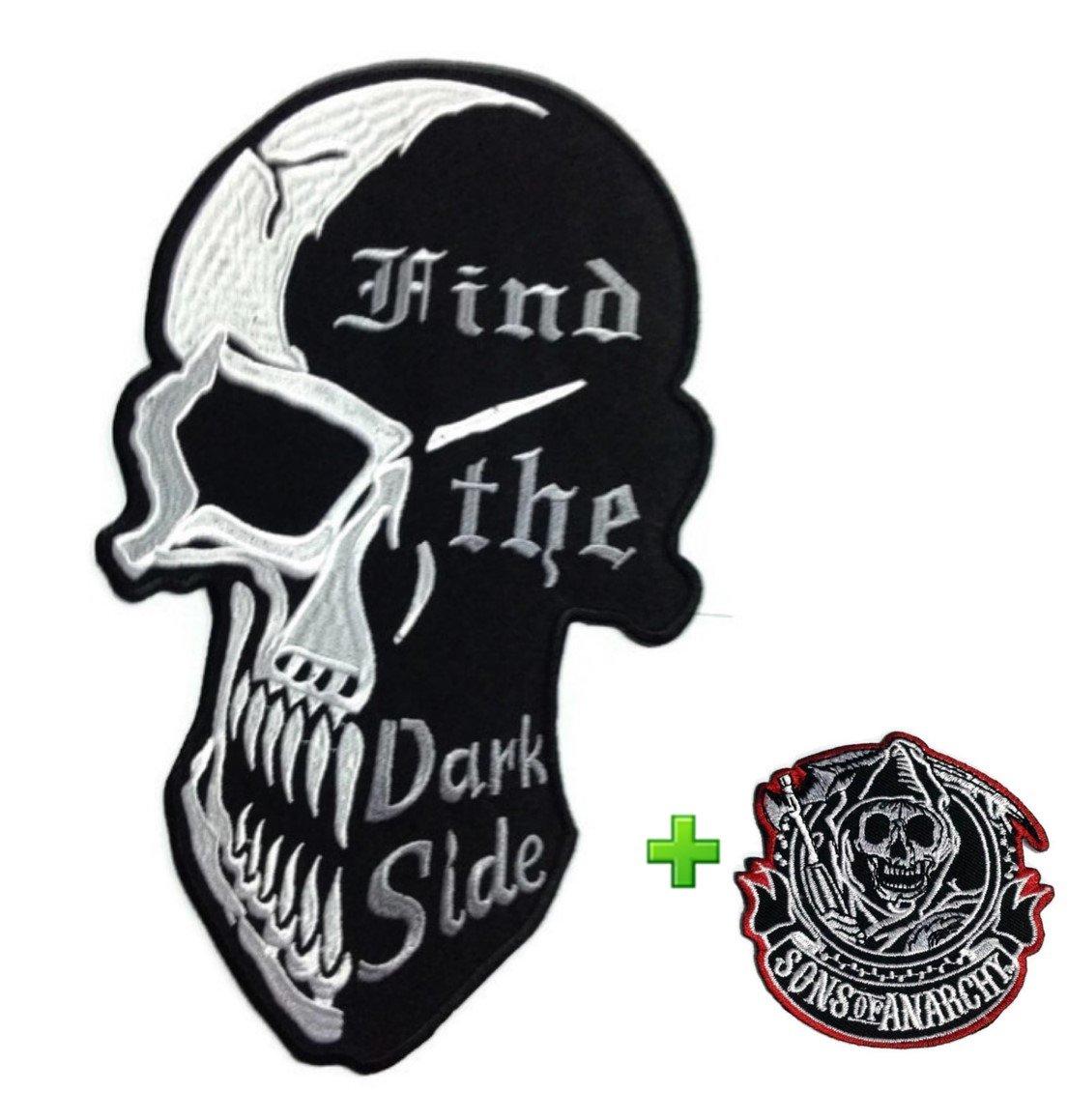 Really Rare 。超保存Punk Funkyファッション布Attached粘着Motorhead Iron On / Sew On Largeサイズパッチスカル非表示The Dark Side & SmallパッチDevil Sun of Anarchy刺繍バイカージャケット B01I50I8RI