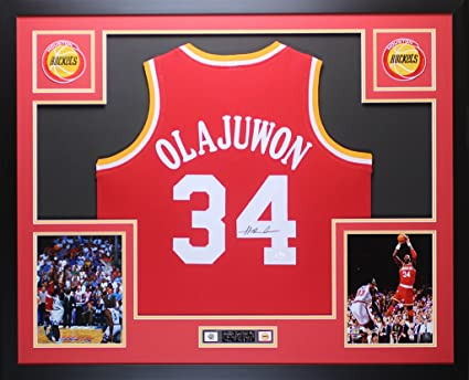 6debc6271 Hakeem Olajuwon Autographed Red Rockets Jersey - Beautifully Matted and  Framed - Hand Signed By Hakeem