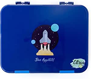 Citron Kids Leak Proof Bento Lunch Box, 6 Compartments, Dark Blue With Spaceship