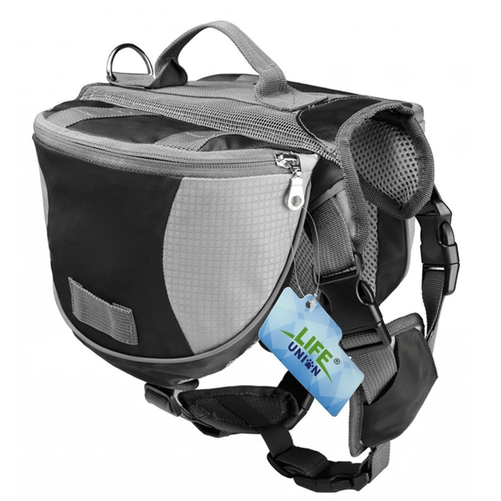 Lifeunion Saddle Bag Backpack for Dog, Tripper Hound Bag Travel Hiking Caming (Black + Grey, L)