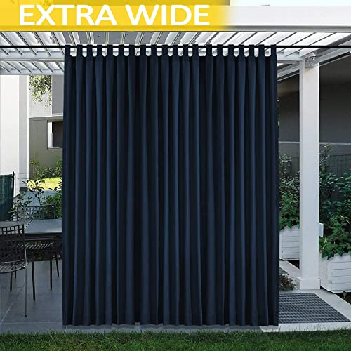 cololeaf Patio Curtain Outdoor – Sunlight Blocking Tab Top Velcro Curtain Extra Wide Drape Waterproof Windproof for Outdoor Indoor Privacy Curtain – Navy 200W x 96L Inch 1 Panel