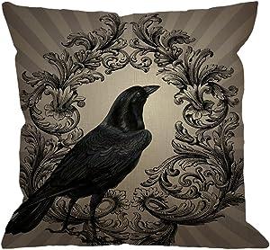 HGOD DESIGNS Crow Throw Pillow Case Vintage Crow Black Flower Cotton Linen Square Cushion Cover Standard Pillowcase for Men Women Home Decorative Sofa Armchair Bedroom Livingroom 18 x 18 inch
