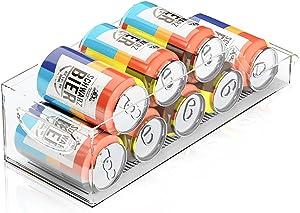 Quntis Refrigerator and Freezer Drink Holder Storage Bin, Pop Soda Can Dispenser Beverage Can Organizer for Fridge, Freezer, Kitchen, Countertops, Cabinets - Clear