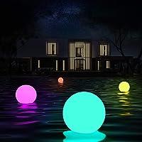 Luces flotantes piscina, 4 Piezas Luz de Bola Impermeable IP68 con Control Remoto, 16 Colors Lámpara LED Decoración…