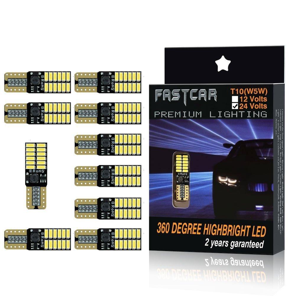 Fastcar Car led T10 W5W Wedge Bulbs 24 LEDs 4014SMD Light Reading Light Door Light 6000K Pure White 300LM DC 24V Gofeng